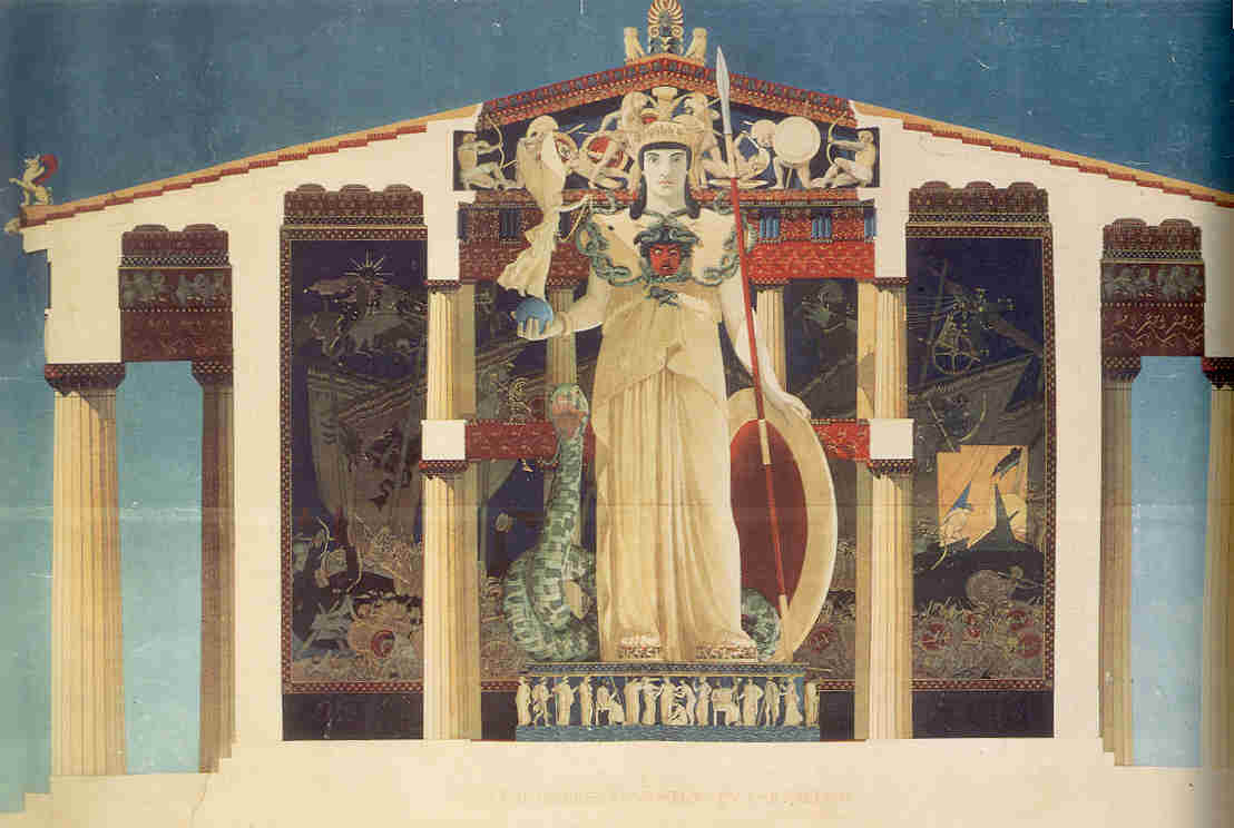 Ζωγραφική τομή που αναπαριστά το λατρευτικό άγαλμα της Αθηνάς εντός του Παρθενώνος.