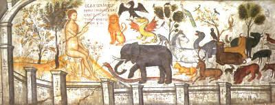 I.M. Aγίου Νικολάου Αναπαυσά. Ο Αδάμ ονομάζει τα ζώα στον Παράδεισο. Μια από τις καλύτερες τοιχογραφίες του Θεοφάνη