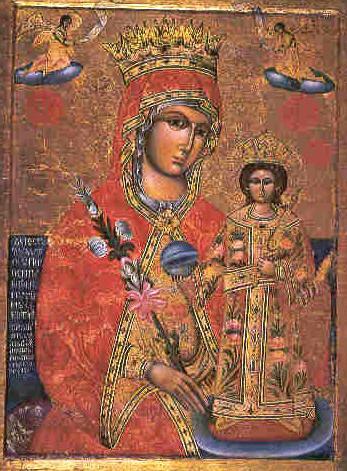 Παναγία με το Χριστό 1790.  Φορητή εικόνα στό τέμπλο, δώρο του Ηγουμένου Παρθενίου