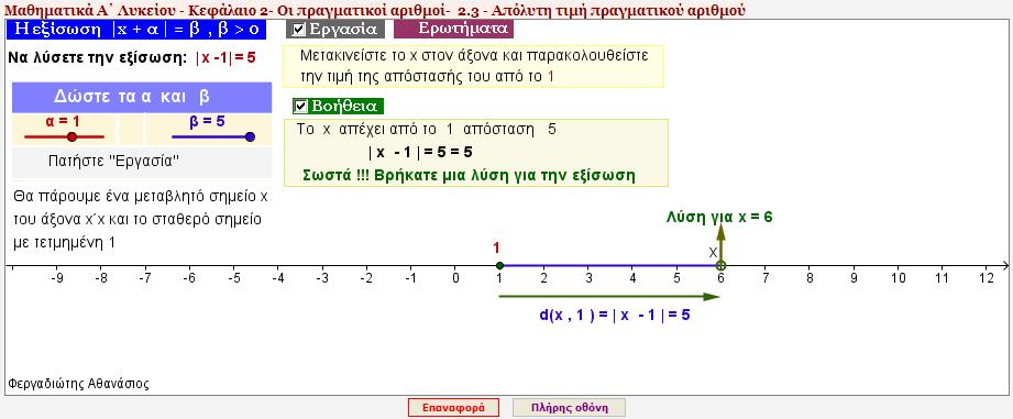 Πρόλημα 1β - Η εξίσωση |x - α| = β