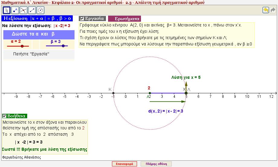 Πρόλημα 1α - Η εξίσωση |x - α| = β