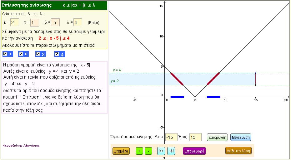 Λύση της ανίσωσης  k < |αx + β|  <  λ