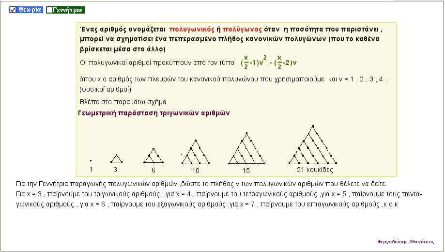 Δημιουργία πολυγωνικών αριθμών