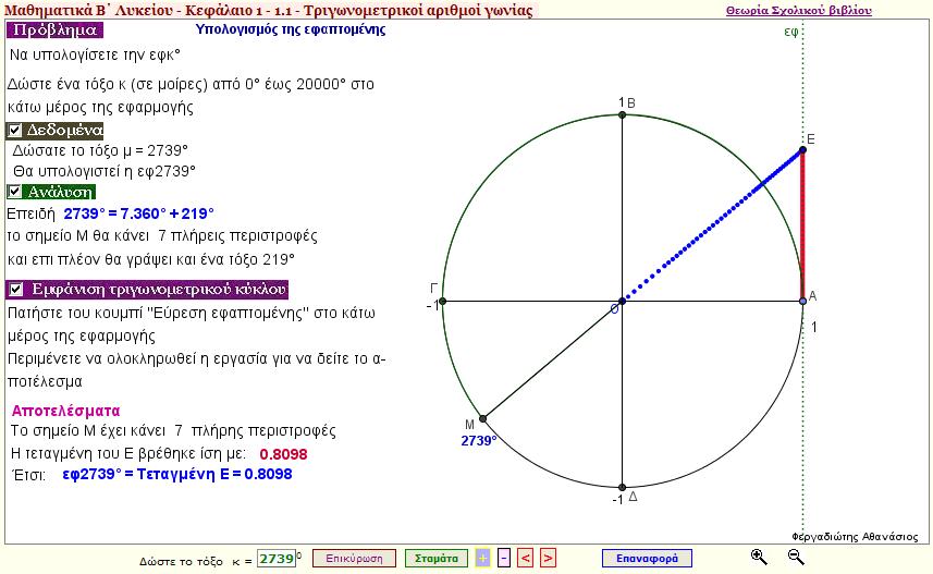 Υπολογισμός της εφαπτομένης μιας γωνίας