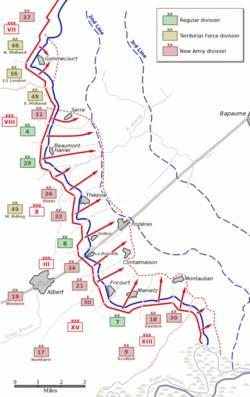 Το σχέδιο επίθεσης του Βρετανικού πεζικού για την 1 Ιουλίου. Επιτυχία είχαν μόνο τα τμήματα νότια του Mametz και Montauban και των Γαλλικών δυνάμεων.