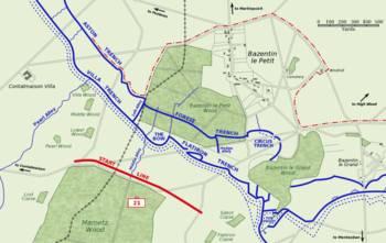 Η 21η μεραρχία κάνει επίθεση στον Bazentin le Petit, 14 Ιουλίου 1916. Η κόκκινη διακεκομμένη γραμμή δείχνει το πεδίο της μάχης στις 9.00 π.μ.