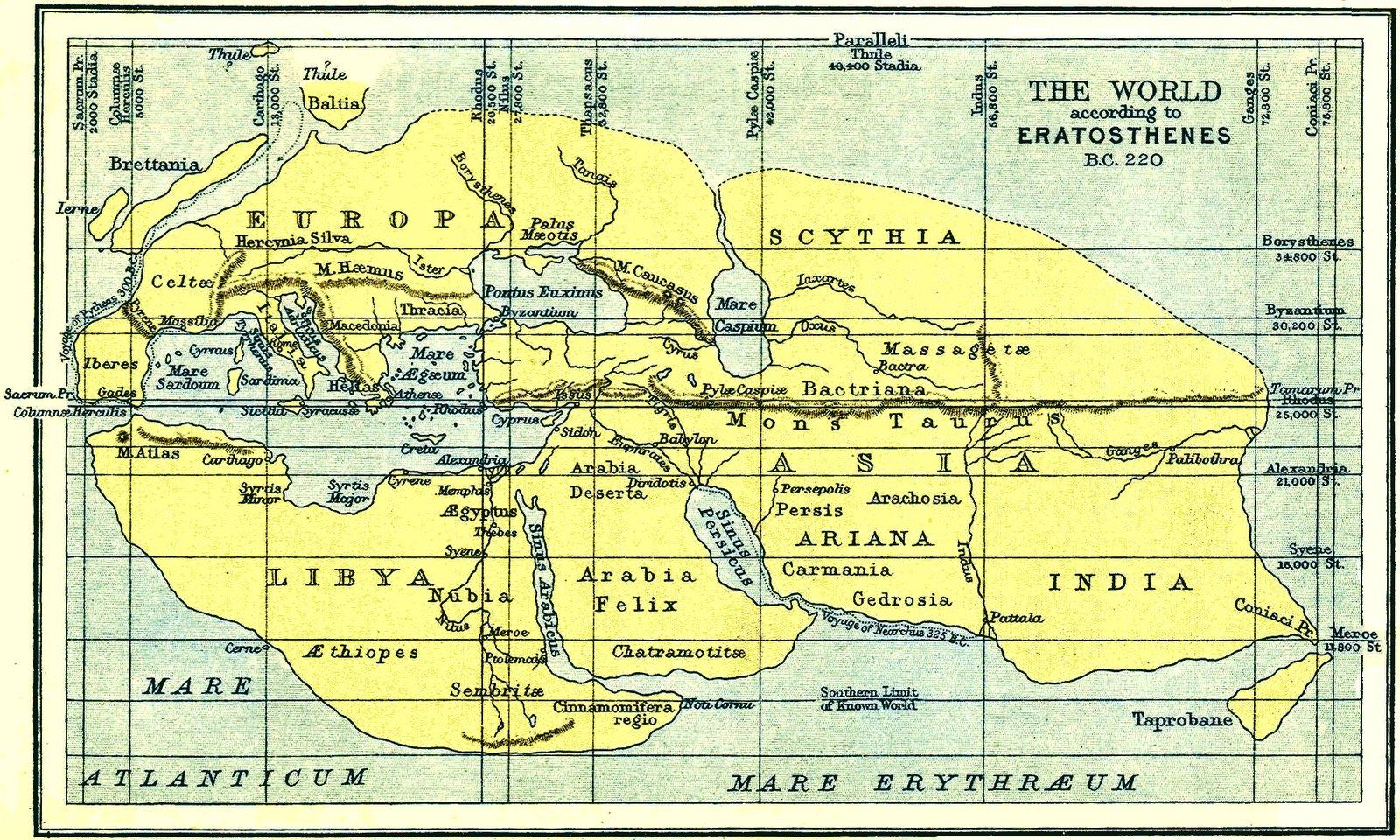Ο κόσμος σύμφωνα με τον Ερατοσθένη το 220 π.Χ.