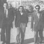 Στη Θεσσαλονίκη (1945). Από τ'αριστερά: Απ. Καλδάρας, Μπ. Μπακάλης, Ρουμελιώτης.