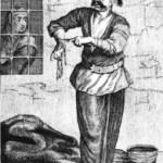 Ενας καπάνταης ενώ παίρνει τις ανάλιες του, υπο τα βλέματα της σκληρής σκορδόπιστης. (συλλογή Διονύση Φωτόπουλου).