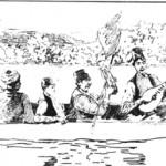 Τουρκόγυφτοι οργανοπαίκες, ενώ πλέουν σε ένα ποτάμι της Σερβίας. Κρατάνε νταούλι, ντέφι, μπουζούκι, βιολί και μπαϊράκι. Τραγουδούν. Σχέδιο του 1890.