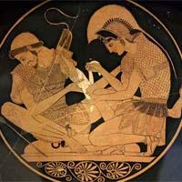 Ο Αχιλλέας επιδένει το τραύμα του Πάτροκλου