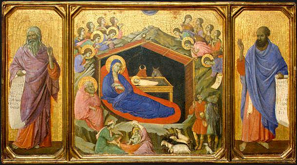 Γέννηση, τρίπτυχο με τους προφήτες Ησαϊα και Ιεζεκιήλ, Duccio di Buoninsegna, τέμπερα και χρυσό σε ξύλο, 43,8?111 cm, 1308-11