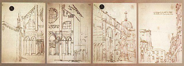 σχέδια, με camera obscura, του Canaletto