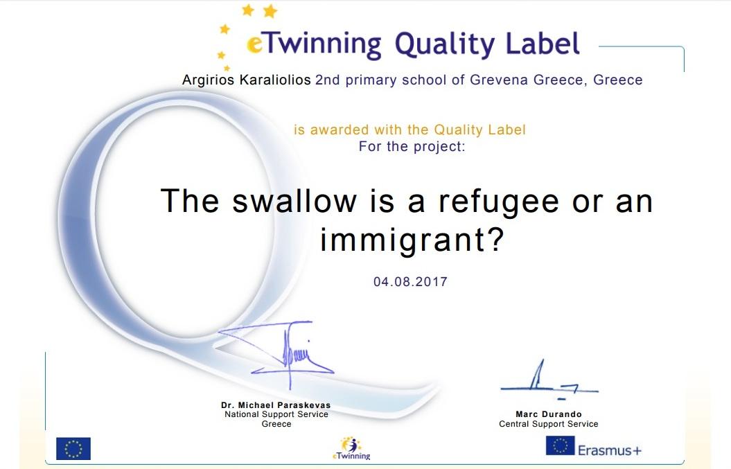 bebd5624f65 (Το χελιδόνι είναι πρόσφυγας ή μετανάστης;) που πραγματοποίησε το σχολικό  έτος 2016-2017 η ΣΤ ΄τάξη του 2ου Δημοτικού Σχολείου Γρεβενών. Δείτε την  εδώ: