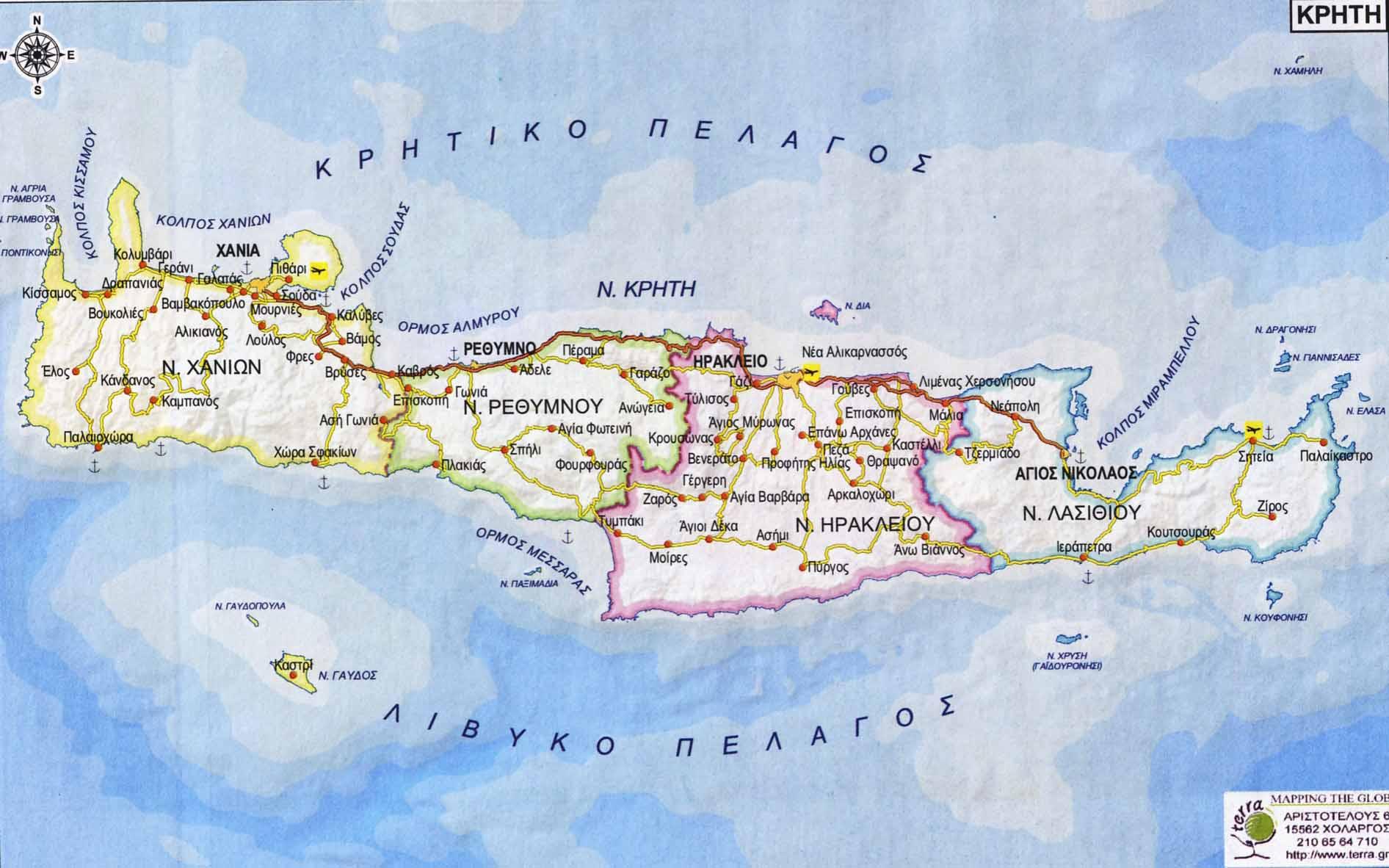 Crete Road Map Mapsof Net